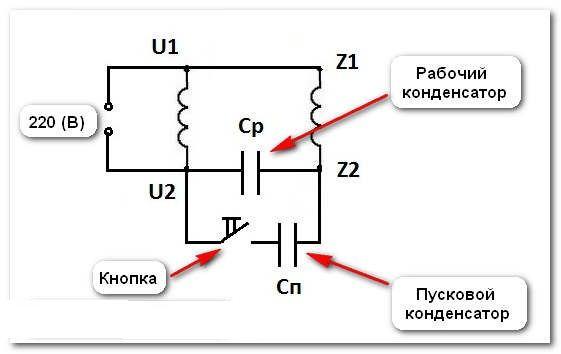 Kondensatormotor anschließen. Korrekter Anschluss des einphasigen Motors