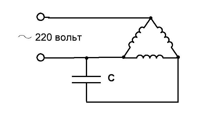 3-Phasen-Motoranschluss. Drehstrommotor im einphasigen Netz