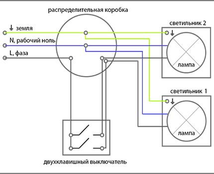 Typen und Regeln zum Verbinden eines Zwei-Tasten-Schalters ...